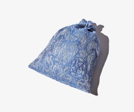 Großer blauer Reisebeutel mit Fleur-de-Lys-Motiv
